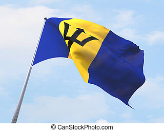 Barbados flag flying on clear sky.