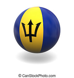 National flag of Barbados on sphere isolated on white background