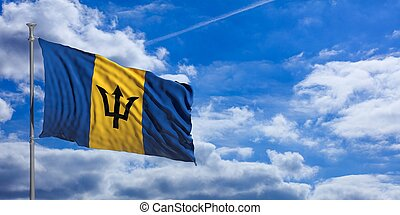 Barbados flag on a blue sky background. 3d illustration
