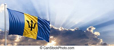Barbados flag on blue sky. 3d illustration