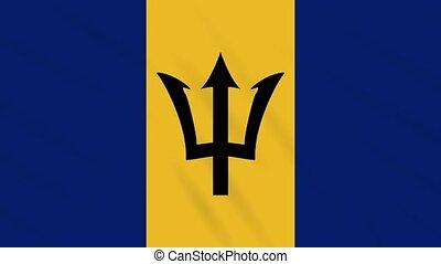 Barbados flag waving cloth background, loop