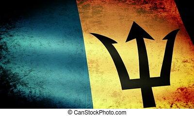 Barbados Flag Waving, grunge