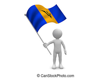 Barbados Flag waving isolated on white background