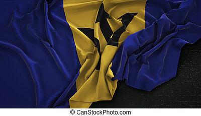 Barbados Flag Wrinkled On Dark Background 3D Render