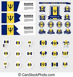 barbados independence day, infographic, and label Set.