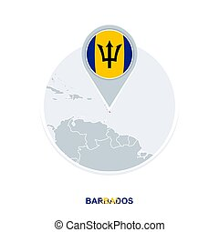 Barbados map and flag, vector map icon with highlighted Barbados