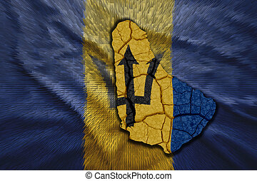 Barbados Map - Map of Barbados in National flag colors