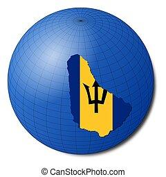 Barbados map flag on abstract globe illustration