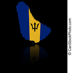 Barbados map flag with reflection illustration