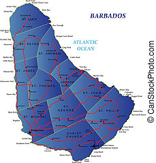 Highly detailed map of Barbados with road map.