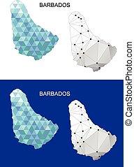 Barbados map in geometric polygonal
