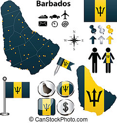 Vector of Barbados set with detailed country shape with region borders, flags and icons