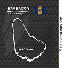 Barbados map, vector pen drawing on black background