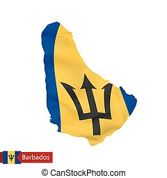 Barbados map with waving flag of country.