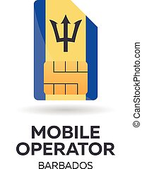 Barbados mobile operator. SIM card with flag. Vector illustration.
