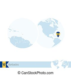Map of caribbean on globe with embossed continents 3d stock barbados on world globe with flag and regional map of barbados gumiabroncs Image collections