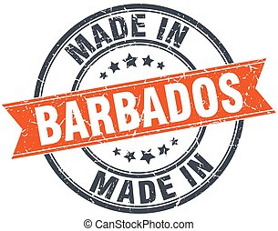 Barbados orange grunge ribbon stamp on white
