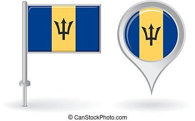 Barbados pin icon and map pointer flag. Vector