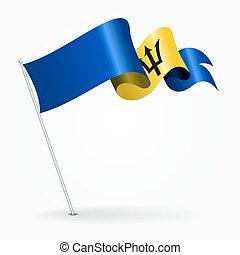 Barbados pin wavy flag. Vector illustration. - Barbados pin...