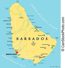 Barbados Political Map with capital Bridgetown, with important cities, places and rivers. English labeling and scaling. Illustration.