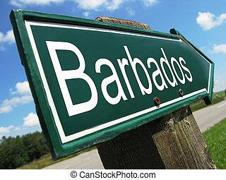 Barbados road sign