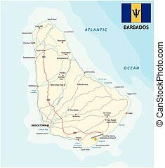 barbados road vector map with flag
