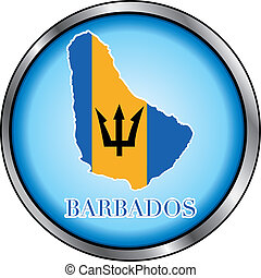 Vector Illustration for Barbados, Round Button. Used Didot font.