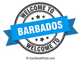 Barbados stamp. welcome to Barbados blue sign