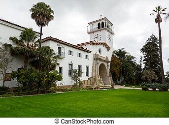 barbara, californie, extérieur, santa, tribunal