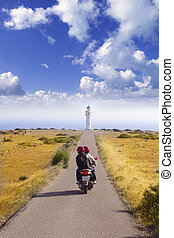 Barbaria cape formentera lighthouse road tourist couple in...