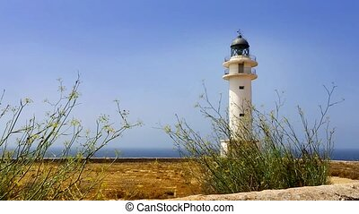 Barbaria cape Formentera lighthouse with mediterranean...