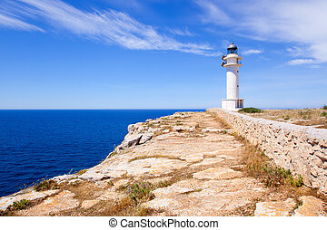 Barbaria Cape lighthouse in Formentera island