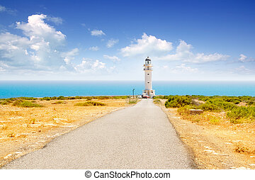 Barbaria cape lighthouse in Formentera with road perspective