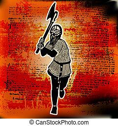Barbarian Danger. Vector illustration with a Viking Axeman...