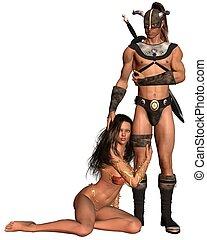 Barbarian Fantasy Couple - 1 - Fantasy style barbarian man...
