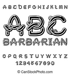 Barbarian font. norse medieval ornament Celtic ABC. Traditional ancient manuscripts alphabet