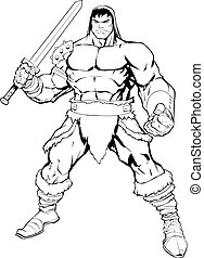 Barbarian on White - Black and white comics illustration of ...
