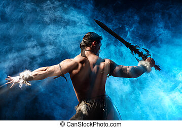 barbarian - Portrait of a handsome muscular ancient warrior...