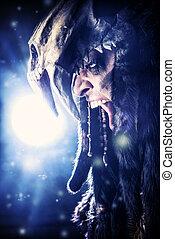barbarian - Ancient shaman warrior. Ethnic costume....
