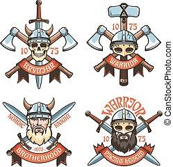 Barbarian warrior retro logos. Medieval Viking heraldic ...