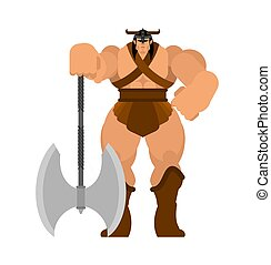 Barbarian with Ax. Strong Warrior with weapons Big blade. berserk Brutal man. Strong Powerful Medieval Mercenary Soldier. Vector illustration