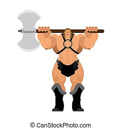 Barbarian with Ax. Strong Warrior with weapons Big blade....