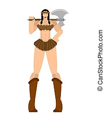 Barbarian woman. Lady viking. Strong female Warrior with weapons Big blade. berserk. Strong Powerful Medieval Mercenary Soldier. Vector illustration