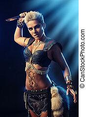 barbarian woman - Portrait of a beautiful female warrior in...