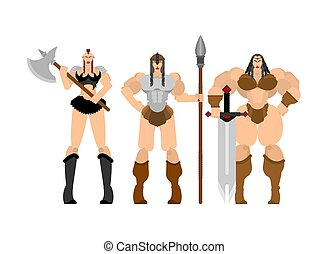 Barbarian woman set. Lady viking. Strong female Warrior with weapons Big blade. berserk. Strong Powerful Medieval Mercenary Soldier. Vector illustration