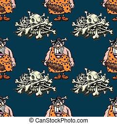 barbaric ancient woman and skeleton bones seamless pattern, ...