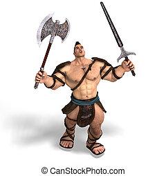 barbaro, ascia, spada, muscolare, lotta