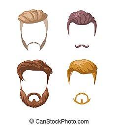 barbas, bigodes, e, penteados, set.