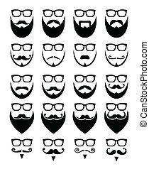 barbe, et, lunettes, hipster, icônes