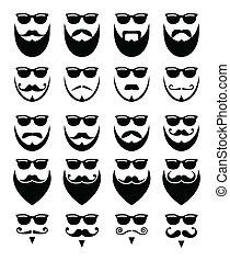 barbe, et, lunettes soleil, hipster, icônes